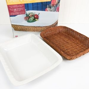 Ceramic Serving Dish with Wicker Basket Rectangle